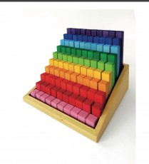 Bauspiel big Colourful Wooden stepped rainbow blocks