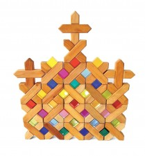 Bauspiel wooden x blocks tray set of 48pc