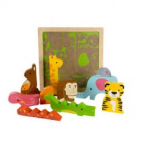 Chunky Wooden Puzzle - Wild in the Jungle
