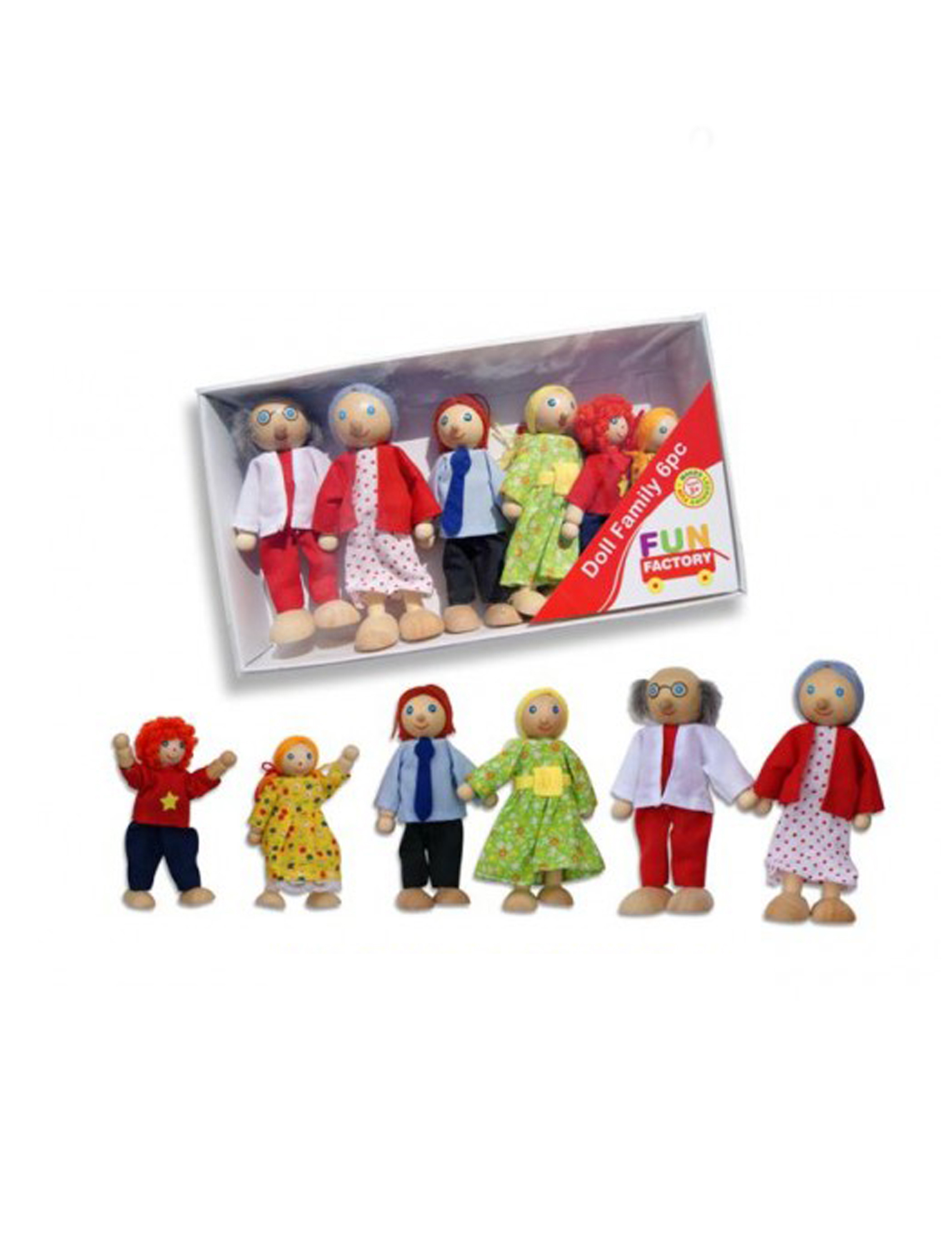 Wooden Doll family 6 pc