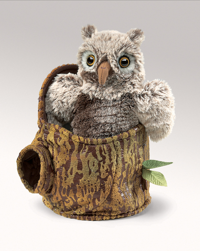 Owlet in a tree Stump Puppet