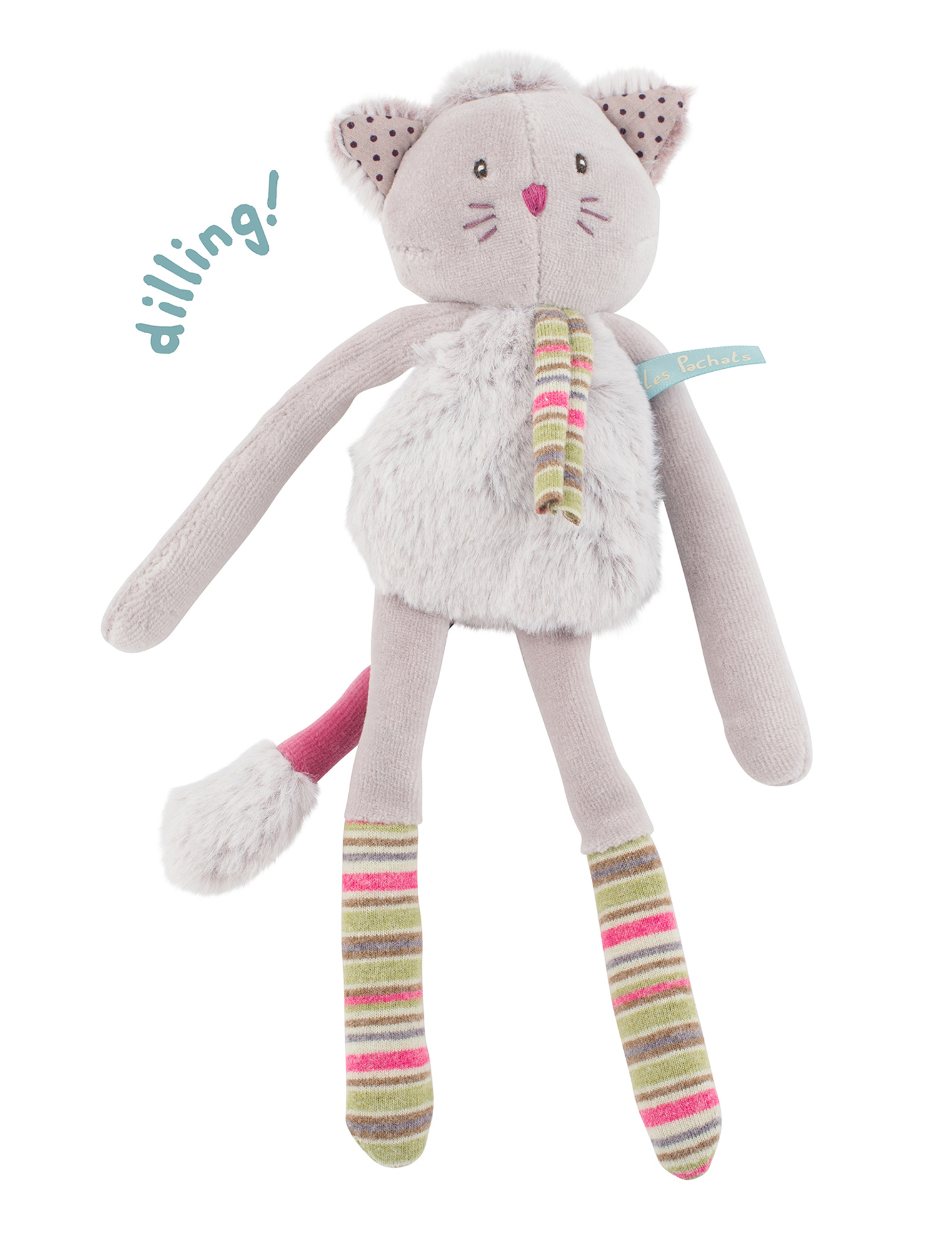 Les Pachat Grey cat rattle