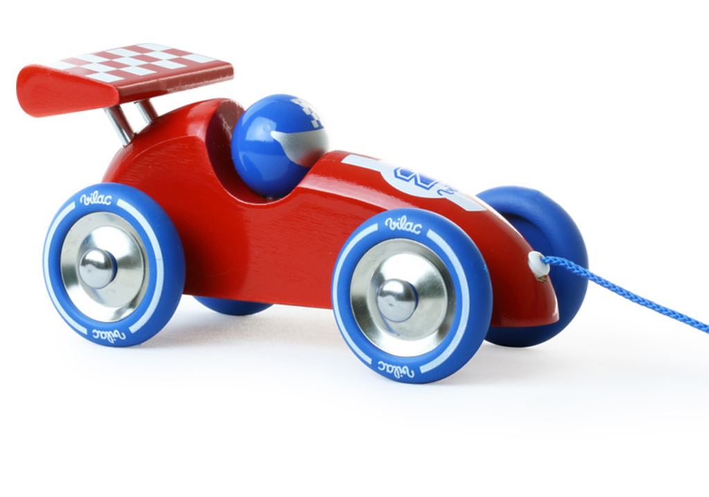 Vilac Red Wooden Racing Car Pull Along