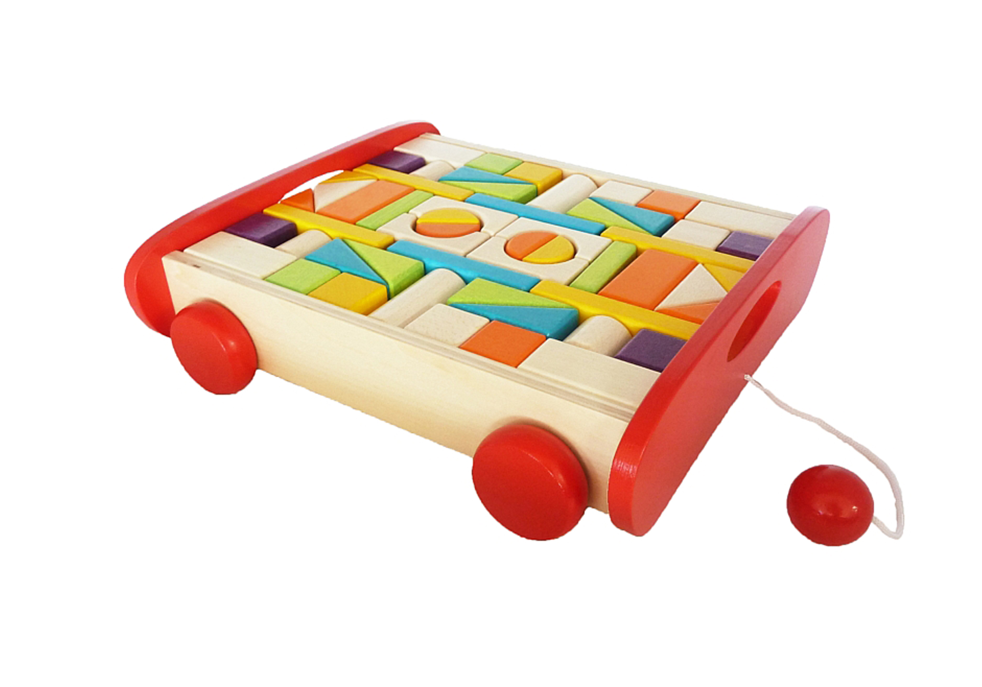 Wooden Block Trolley Set