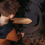 wooden toy boat canoe